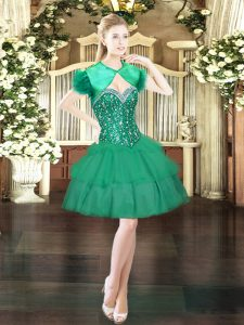 Noble Sweetheart Sleeveless Pageant Dress Mini Length Beading and Ruffled Layers Dark Green Organza