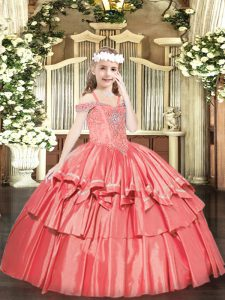 Coral Red Off The Shoulder Lace Up Beading and Ruffled Layers Little Girl Pageant Gowns Sleeveless