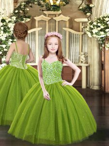 Custom Designed Olive Green Sleeveless Floor Length Beading Lace Up Winning Pageant Gowns