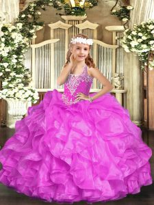 Floor Length Lace Up Little Girl Pageant Dress Lilac for Party and Quinceanera with Beading and Ruffles