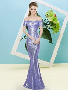 Beauteous Sequined Short Sleeves Floor Length Pageant Dress and Sequins