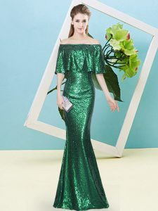 Fantastic Dark Green Off The Shoulder Neckline Sequins Custom Made Pageant Dress Half Sleeves Zipper