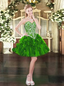 Mini Length Ball Gowns Sleeveless Green High School Pageant Dress Lace Up