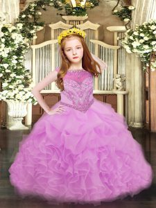 New Arrival Organza Sleeveless Floor Length Pageant Dress for Girls and Beading and Ruffles and Pick Ups