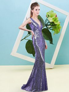Attractive Floor Length Purple Pageant Dress for Teens Sequined Sleeveless Sequins