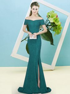Enchanting Turquoise Short Sleeves Sweep Train Sequins Pageant Dresses