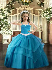 Custom Made Sleeveless Floor Length Appliques and Ruffled Layers Lace Up Pageant Dress for Teens with Baby Blue