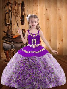 Sleeveless Lace Up Floor Length Embroidery and Ruffles Pageant Gowns For Girls