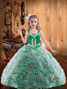 Straps Sleeveless Fabric With Rolling Flowers Kids Pageant Dress Embroidery and Ruffles Lace Up