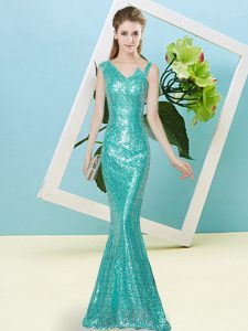 Sleeveless Floor Length Sequins Zipper Pageant Dress Wholesale with Teal