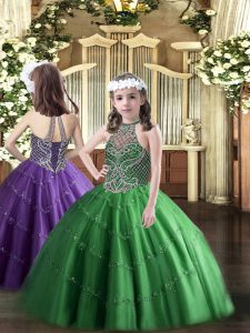 New Arrival Sleeveless Beading Lace Up Girls Pageant Dresses