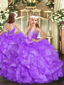 Trendy Sleeveless Floor Length Beading and Ruffles Lace Up Pageant Dress Wholesale with Lavender