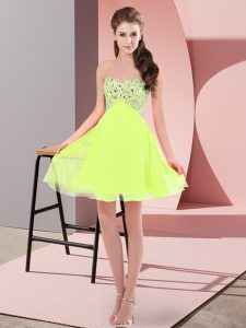 Glamorous Yellow Green Sweetheart Lace Up Beading Custom Made Pageant Dress Sleeveless