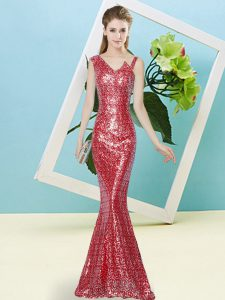 Delicate Mermaid Evening Gowns Red Asymmetric Sequined Sleeveless Floor Length Zipper