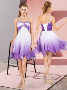 Hot Selling One Shoulder Sleeveless Fading Color Pageant Gowns Beading Lace Up