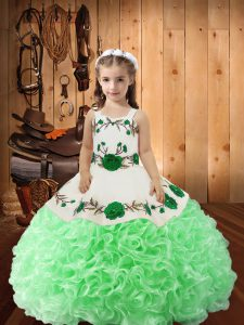 Green Sleeveless Embroidery and Ruffles Floor Length Evening Gowns