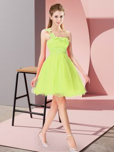 Yellow Green Empire Beading and Hand Made Flower Pageant Dress Wholesale Zipper Organza Sleeveless Mini Length