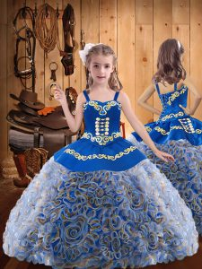 Customized Embroidery and Ruffles Pageant Dress Wholesale Multi-color Lace Up Sleeveless Floor Length