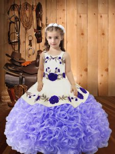 Fancy Lavender Fabric With Rolling Flowers Lace Up Straps Sleeveless Floor Length Little Girl Pageant Gowns Embroidery and Ruffles