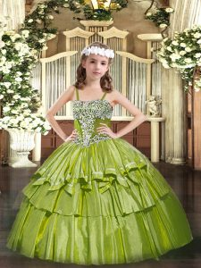 Floor Length Olive Green Pageant Dress Wholesale Straps Sleeveless Lace Up