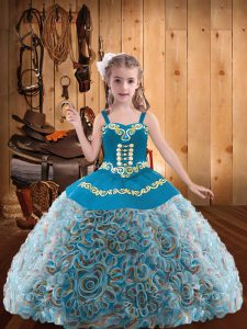 Enchanting Floor Length Multi-color Little Girls Pageant Gowns Fabric With Rolling Flowers Sleeveless Embroidery and Ruffles