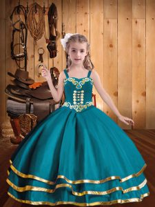 Organza Straps Sleeveless Lace Up Embroidery and Ruffled Layers Child Pageant Dress in Teal