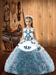 Multi-color Lace Up Straps Embroidery Pageant Dress for Teens Fabric With Rolling Flowers Sleeveless
