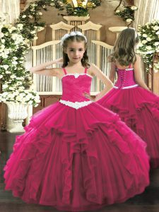 Floor Length Lace Up Child Pageant Dress Hot Pink for Party and Quinceanera with Appliques and Ruffles