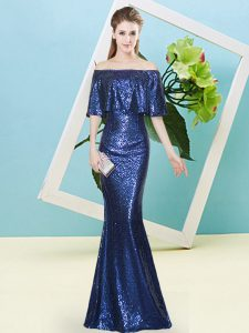 Royal Blue Mermaid Sequined Off The Shoulder Half Sleeves Sequins Floor Length Zipper Pageant Gowns