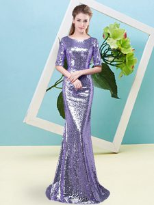 Modern Lavender Half Sleeves Sequined Zipper Pageant Dresses for Prom and Party