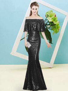 Hot Sale Black Off The Shoulder Neckline Sequins High School Pageant Dress Half Sleeves Zipper