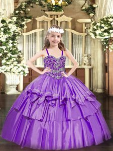 Classical Organza Sleeveless Floor Length Child Pageant Dress and Beading and Ruffled Layers