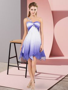 Beautiful Multi-color Empire One Shoulder Sleeveless Fading Color Asymmetrical Lace Up Beading Pageant Dress Womens