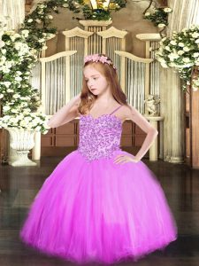 Hot Selling Appliques Child Pageant Dress Lilac Lace Up Sleeveless Floor Length