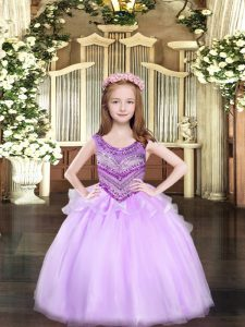 Superior Lilac Lace Up Scoop Beading Little Girl Pageant Gowns Organza Sleeveless