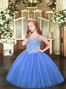 Floor Length Ball Gowns Sleeveless Baby Blue Pageant Dress Toddler Lace Up