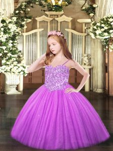 Floor Length Ball Gowns Sleeveless Lilac Little Girls Pageant Dress Lace Up