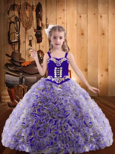 Latest Multi-color Ball Gowns Straps Sleeveless Fabric With Rolling Flowers Floor Length Lace Up Embroidery and Ruffles Custom Made Pageant Dress