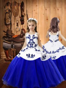 Blue Ball Gowns Embroidery Custom Made Pageant Dress Lace Up Organza Sleeveless Floor Length