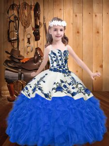 Wonderful Sleeveless Floor Length Embroidery and Ruffles Lace Up Little Girl Pageant Dress with Blue