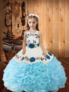 Straps Sleeveless Little Girl Pageant Dress Floor Length Beading and Ruffles Baby Blue Fabric With Rolling Flowers