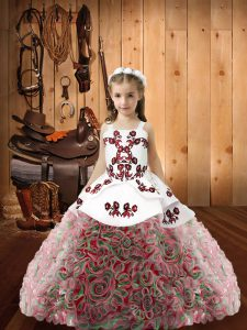 Glorious Ball Gowns Pageant Dress Toddler Multi-color Straps Fabric With Rolling Flowers Sleeveless Floor Length Zipper