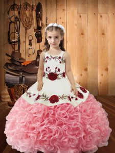 Glorious Pink Sleeveless Fabric With Rolling Flowers Lace Up Little Girls Pageant Dress Wholesale for Sweet 16 and Quinceanera