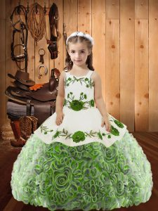 Modern Multi-color Kids Formal Wear Sweet 16 and Quinceanera with Embroidery and Ruffles Straps Sleeveless Lace Up