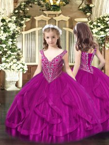 Fashionable Tulle Sleeveless Floor Length Pageant Dresses and Beading and Ruffles
