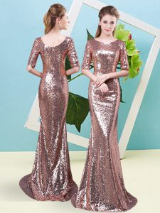 Half Sleeves Floor Length Sequins Zipper Pageant Gowns with Gold
