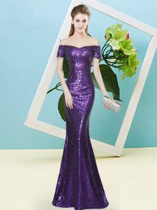 Floor Length Purple Evening Gowns Sequined Short Sleeves Sequins