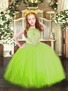 Stylish Ball Gowns Beading Little Girl Pageant Gowns Zipper Tulle Sleeveless Floor Length