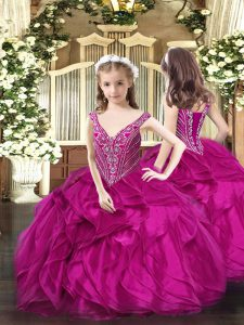 High Class Fuchsia Ball Gowns Organza V-neck Sleeveless Beading and Ruffles Floor Length Lace Up Little Girl Pageant Gowns