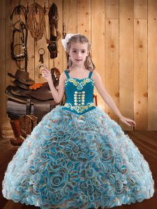 Multi-color Sleeveless Floor Length Embroidery and Ruffles Lace Up Pageant Dress Womens